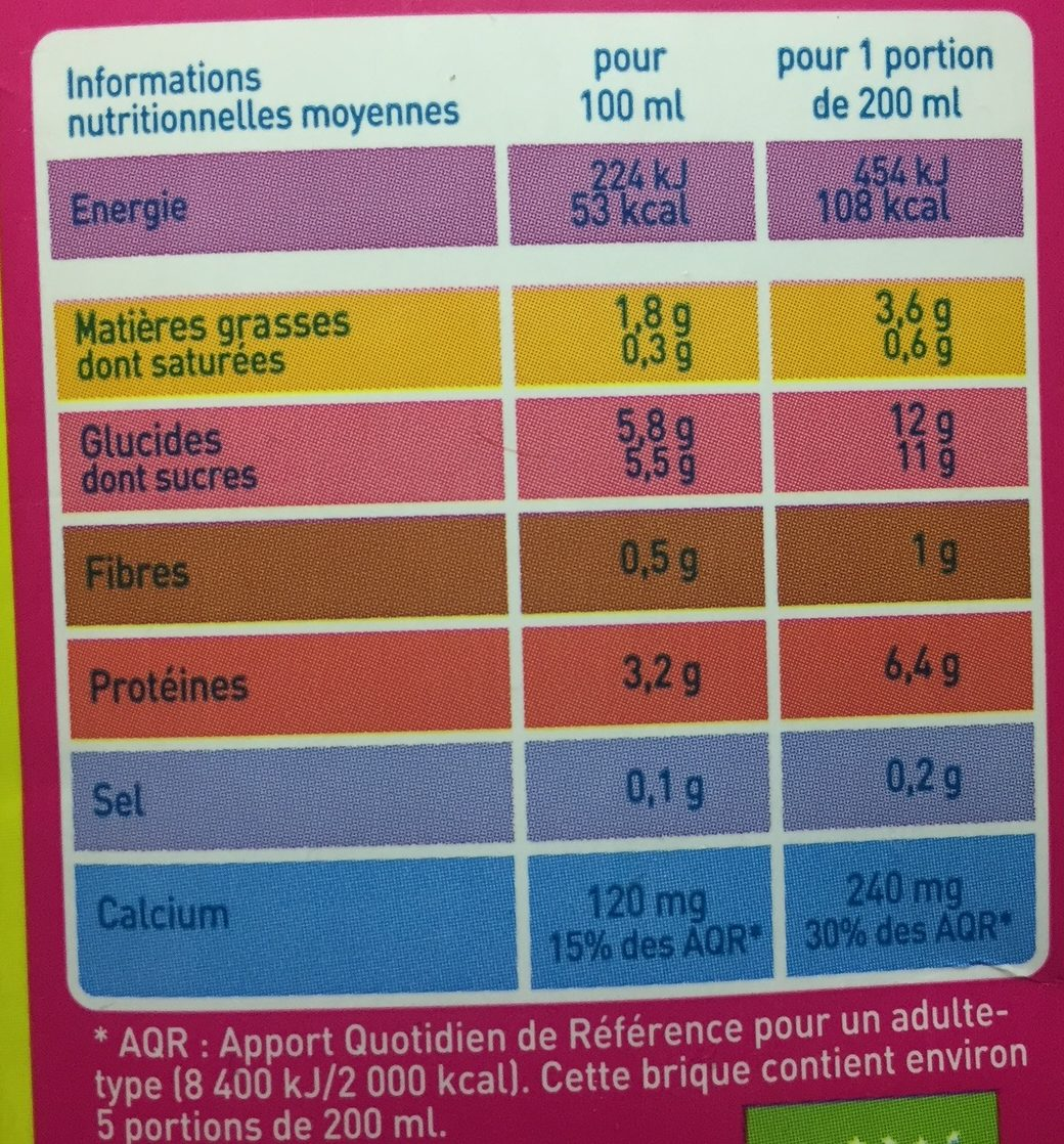 Boisson au Soja Vanille - Nutrition facts