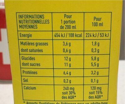 Boisson au soja vanille - Informations nutritionnelles - fr