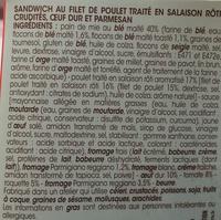 Sandwich au filet de poulet crudités et parmesan - Ingrédients - fr