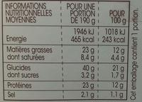 Sandwich au filet de poulet crudités et parmesan - Informations nutritionnelles - fr