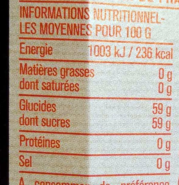 Confiture extra fraises - Voedingswaarden