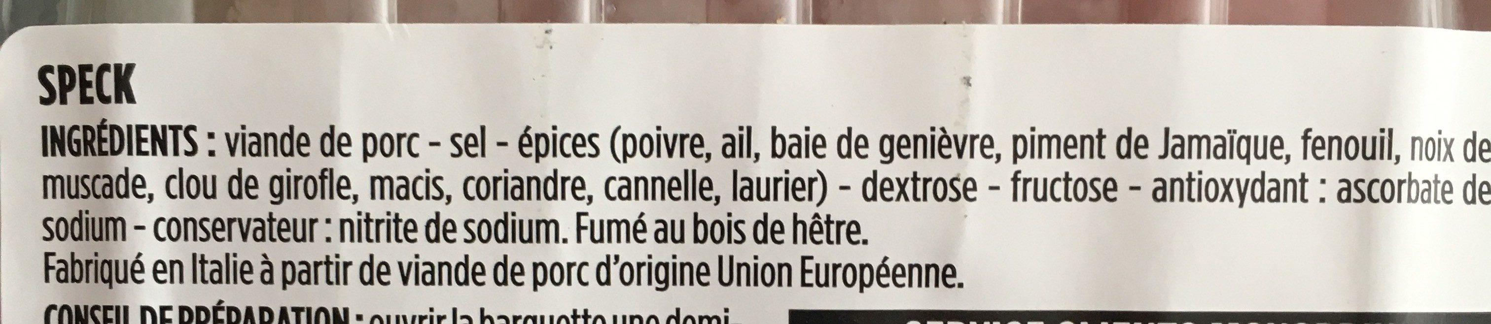 Speck fumé au bois de hêtre - Ingrediënten - fr