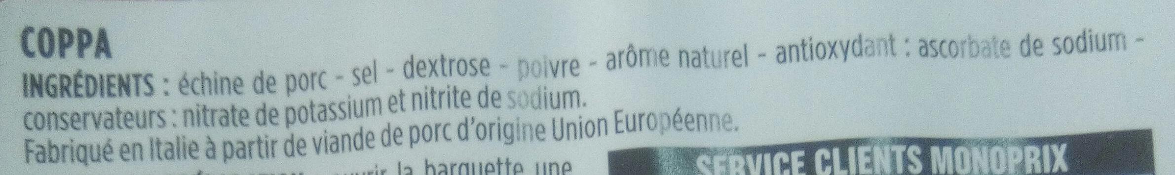 Gourmet - Coppa - Ingrediënten - fr
