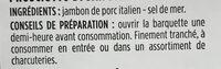 Jambon de san danile appellation d'origine protégée - Ingrédients - fr