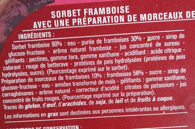 Sorbet framboise - Ingrédients - fr