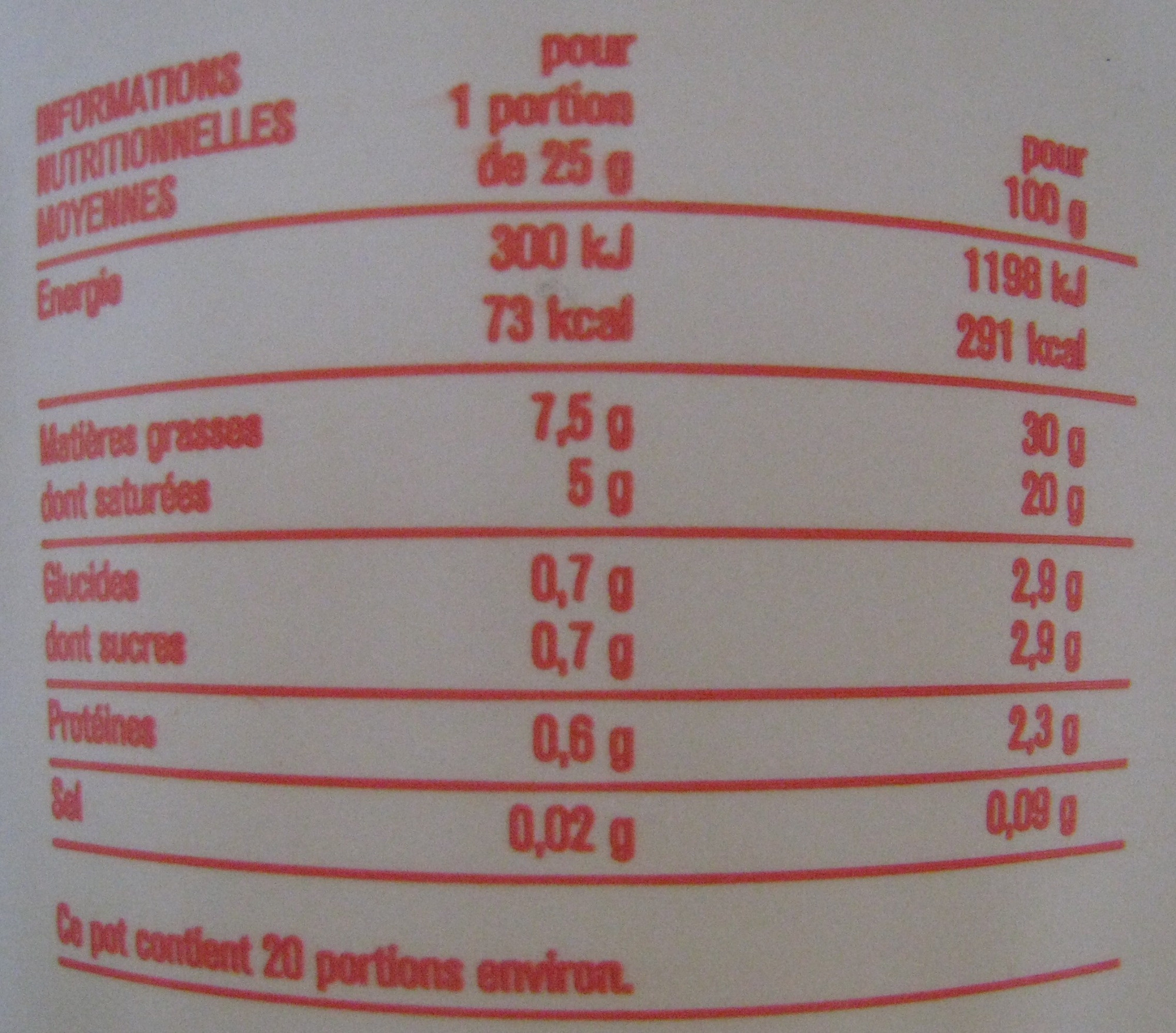 Crème fraîche (30 % MG) - Voedingswaarden - fr