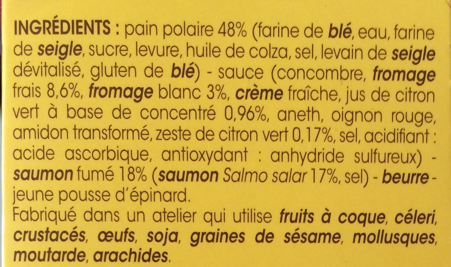 Le Saumon Fumé Fromage Frais et Citron Vert Pain Polaire - Ingredients