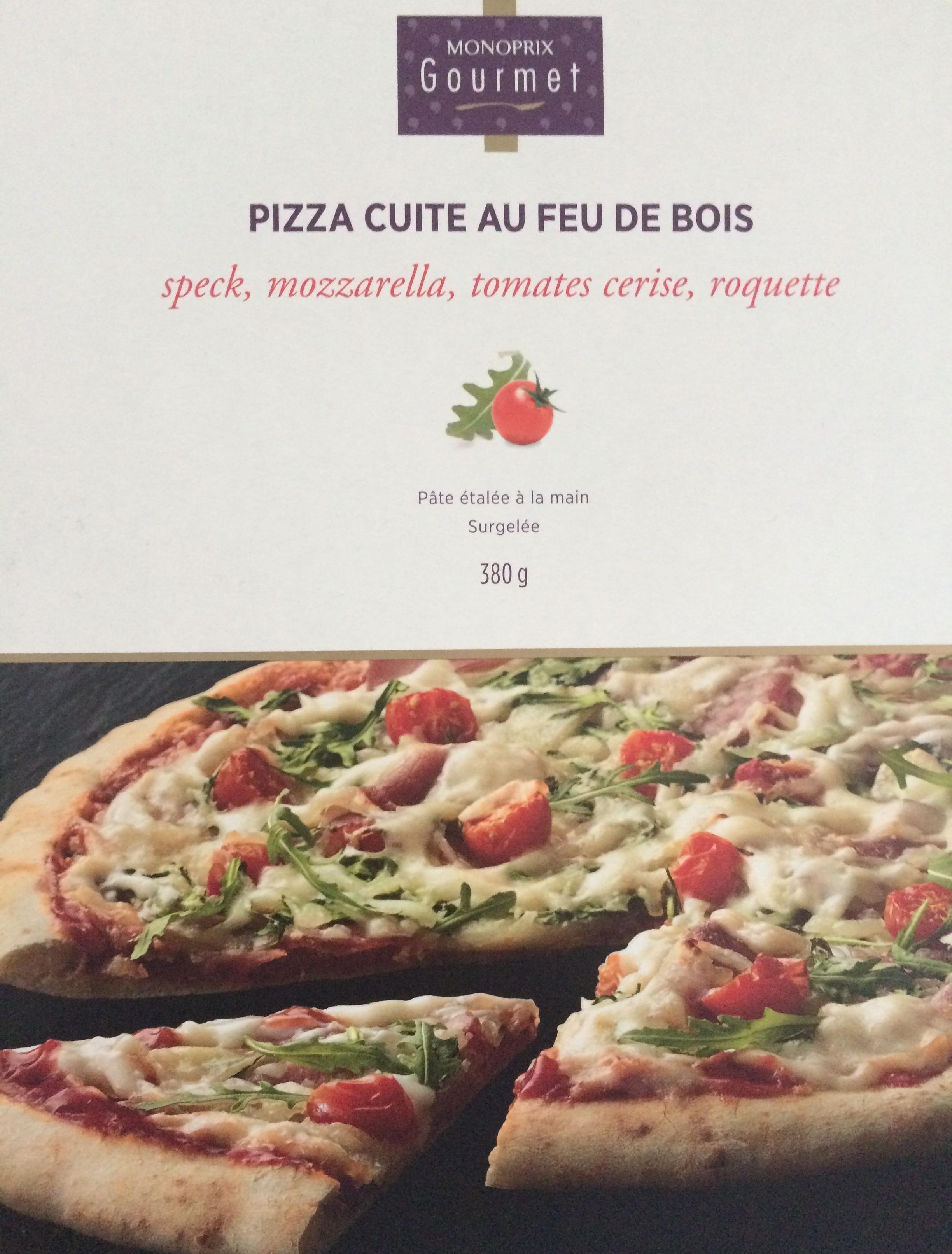 Pizza cuite au feu de bois speck, mozzarella, tomates cerise, roquette - Produit