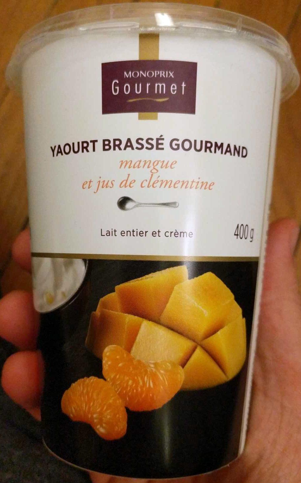 Yaourt brassé gourmand mangue et jus de clémentine - Producto