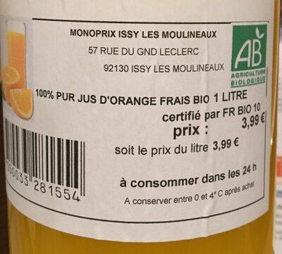100% Pur Jus d'Orange Frais Bio - Ingrediënten - fr