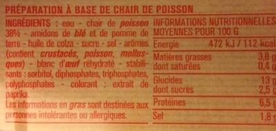 28 Bâtonnets Saveur Crabe - Nutrition facts - fr