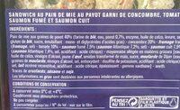 au Pavot Garni de Concombre, Tomate, Saumon Fumé et Saumon Cuit - Ingrédients - fr