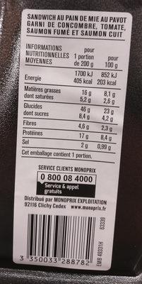 au Pavot Garni de Concombre, Tomate, Saumon Fumé et Saumon Cuit - Informations nutritionnelles - fr