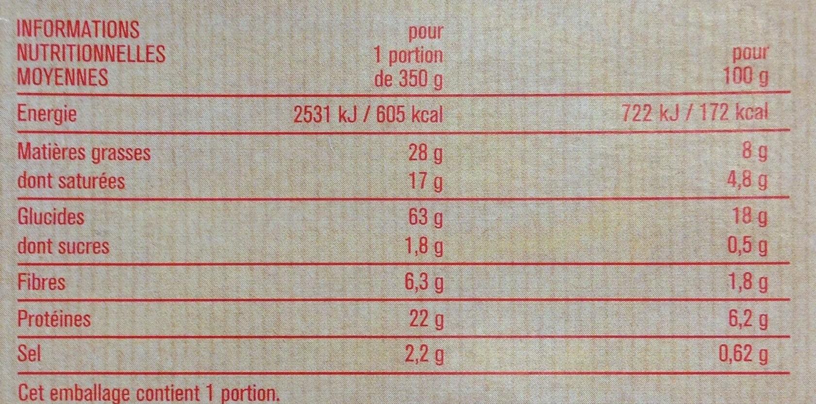 Tagliatelles Carbonara à la crème fraîche - Nutrition facts