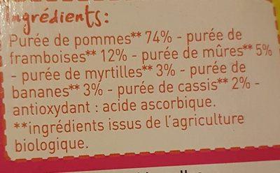 Compote en purée de fruits pomme et fruits rouges - Ingrediënten - fr
