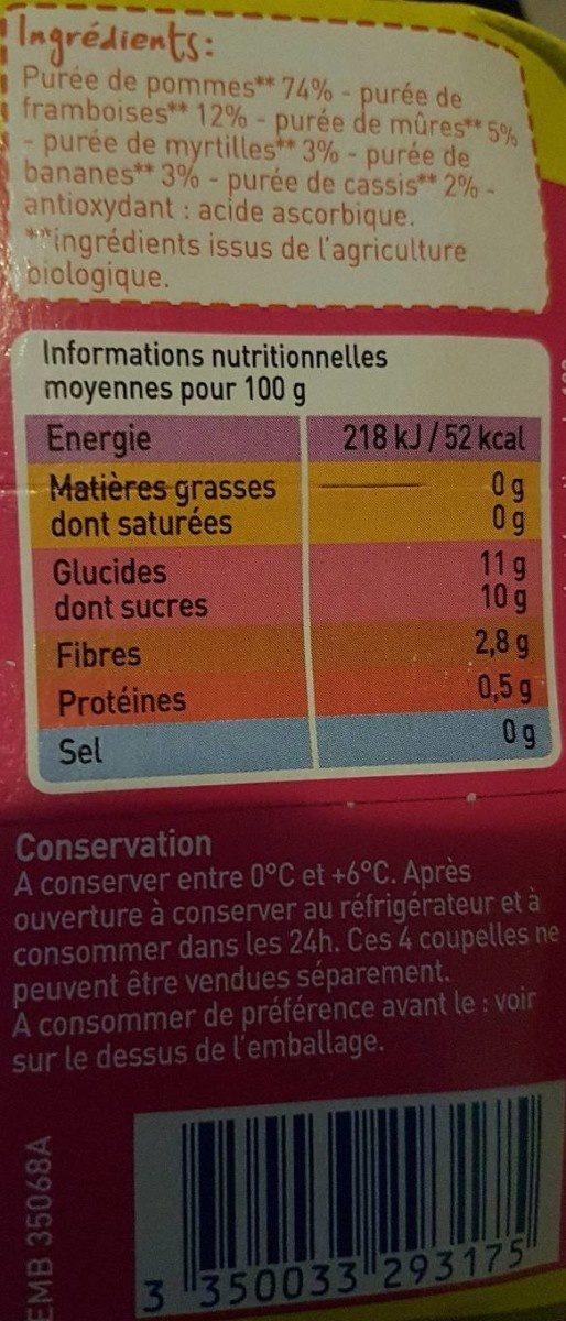 Compote en purée de fruits pomme et fruits rouges - Voedingswaarden - fr