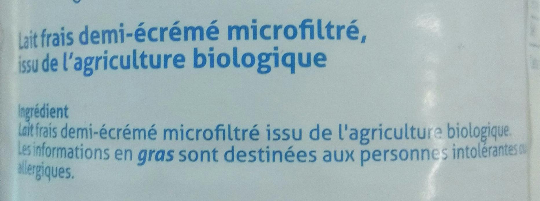 Lait Frais demi-écrémé microfiltré - Ingredients