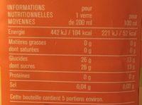 100% Pur jus Clémentine, Raisin et Orange - Nutrition facts - fr