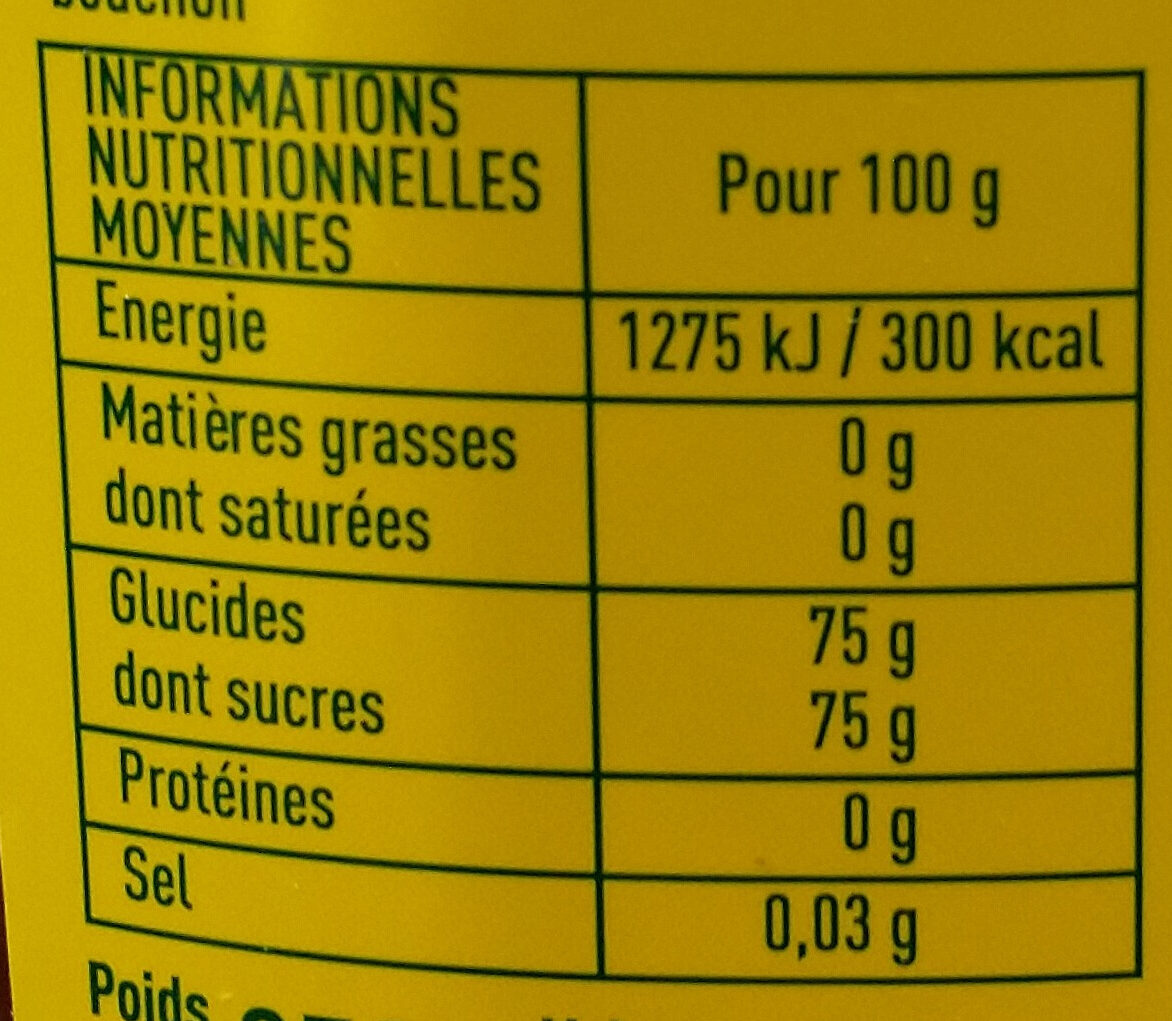 Sirop d'agave ambré - Nutrition facts - fr