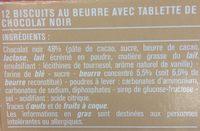 Petits beurre croustillants tablette de chocolat noir - 成分 - fr