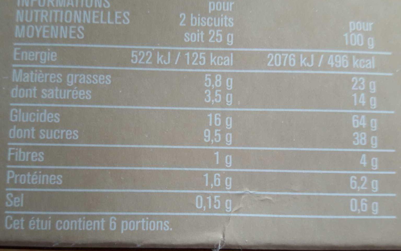 Petits beurre croustillants tablette de chocolat noir - 营养成分 - fr