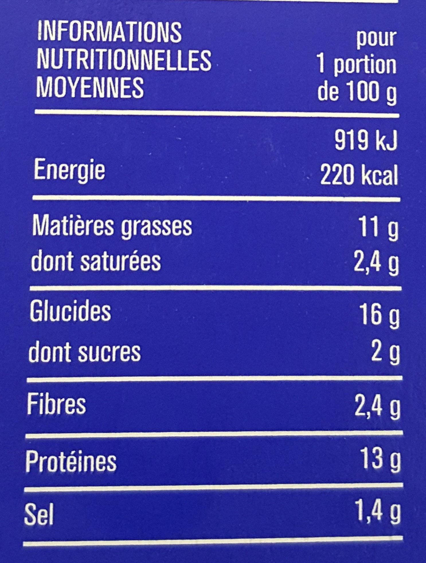 Cordons bleus de poulet surgelés - Informations nutritionnelles