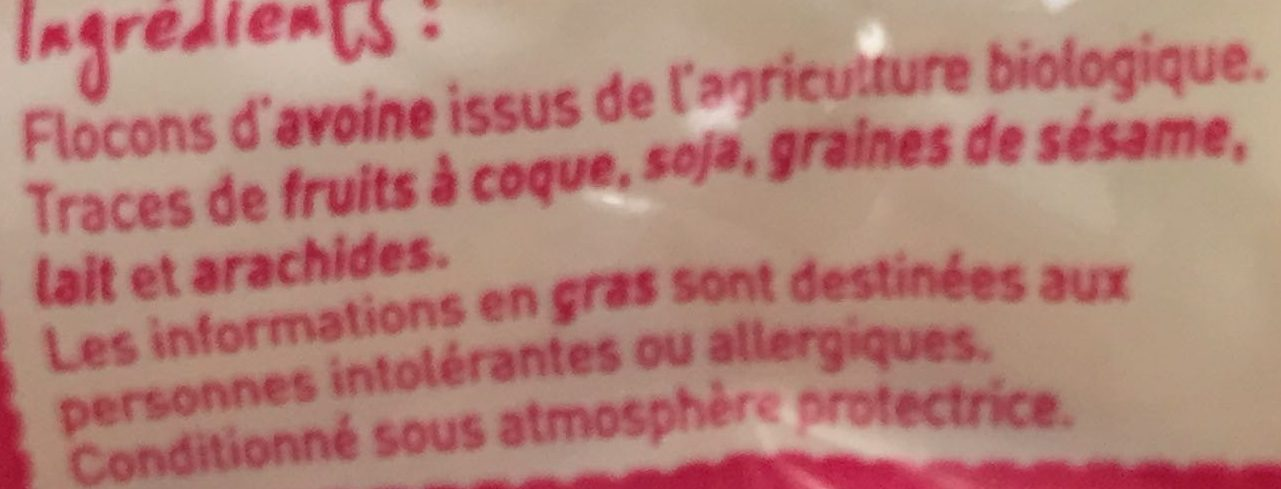 Flocon avoine bio monoprix - Ingredienti - fr