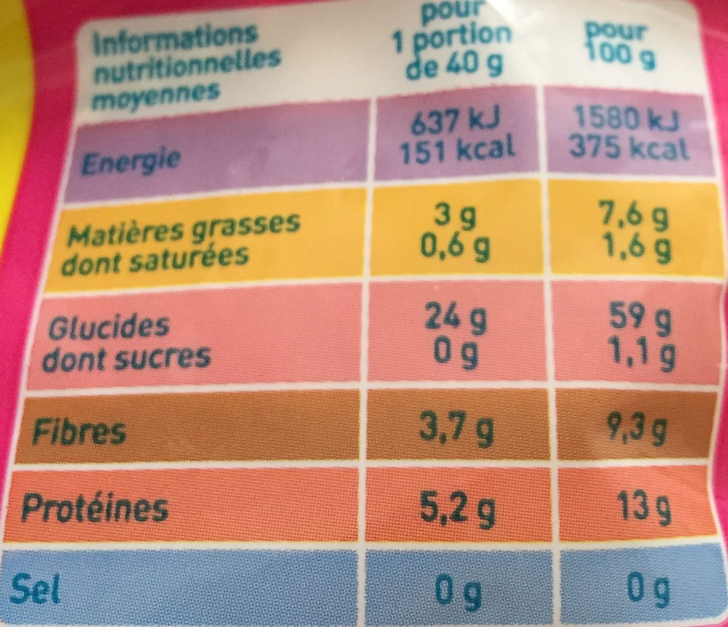 Flocon avoine bio monoprix - Valori nutrizionali - fr