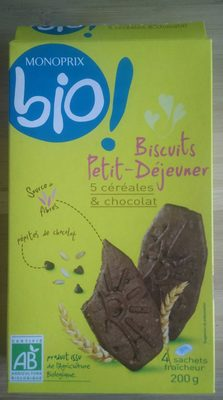 Biscuits petit dejeuner 5 céréales et chocolat - Product