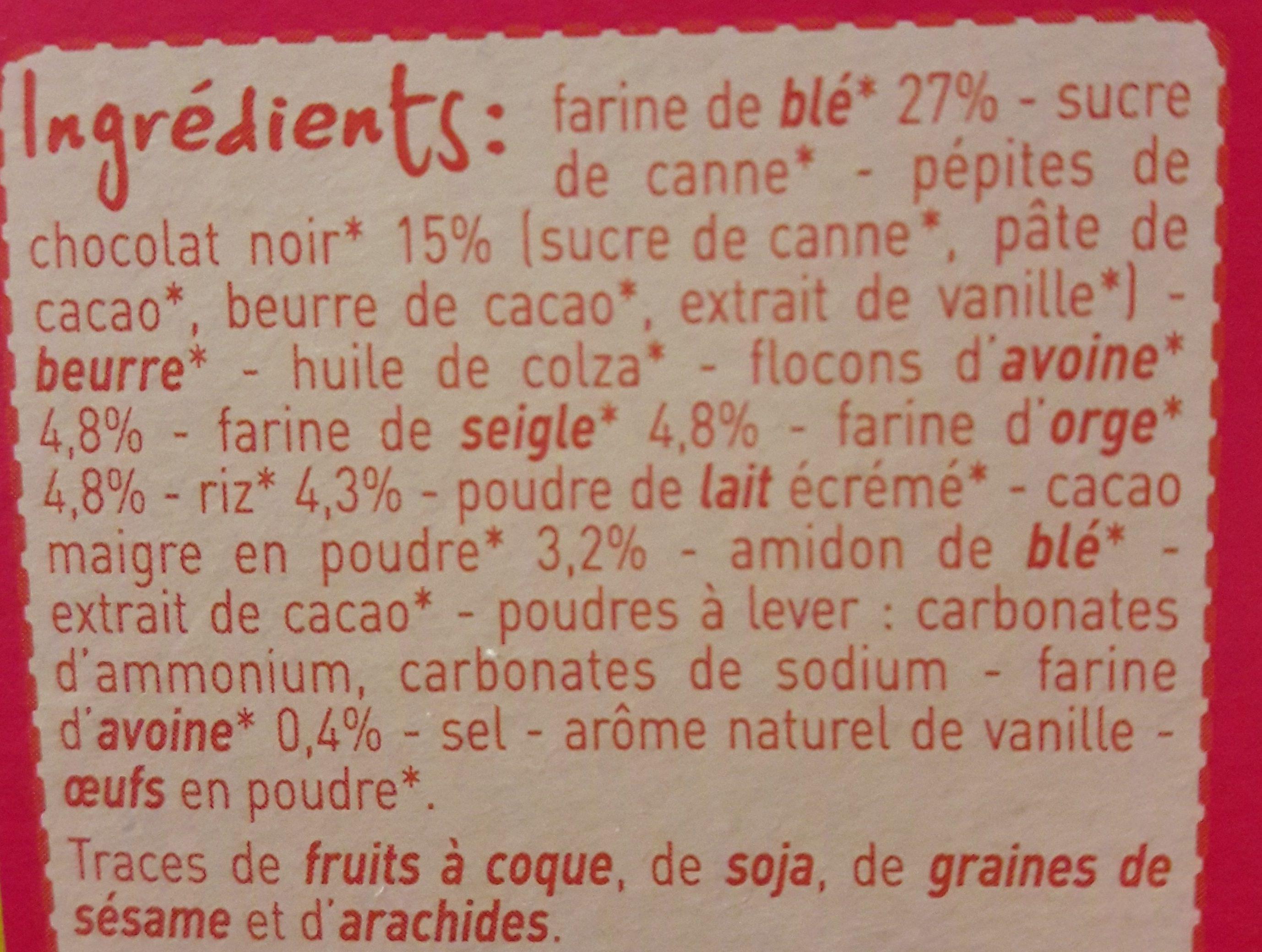 Biscuits petit dejeuner 5 céréales et chocolat - Ingrediënten