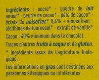 Chocolate lait dégustation éclats de noisettes - Ingrédients