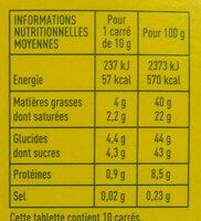 Chocolate lait dégustation éclats de noisettes - Informations nutritionnelles