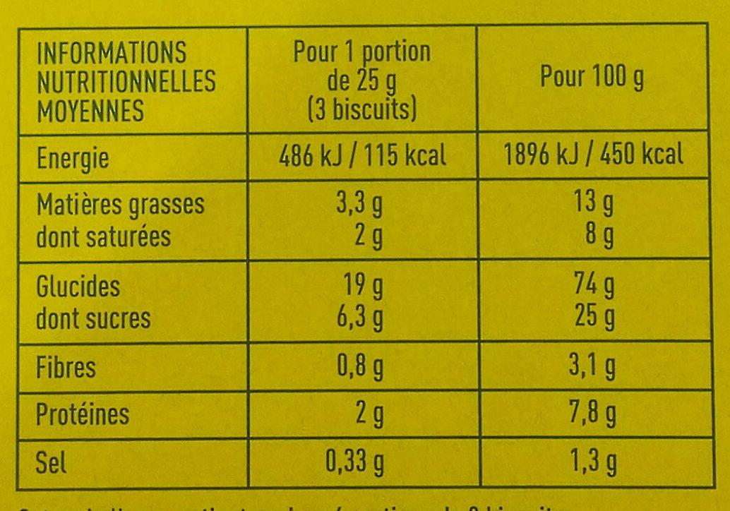 Petit beurre Monoprix bio - Voedingswaarden