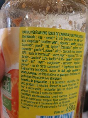 Ravioli végétariens - Ingredienti - fr