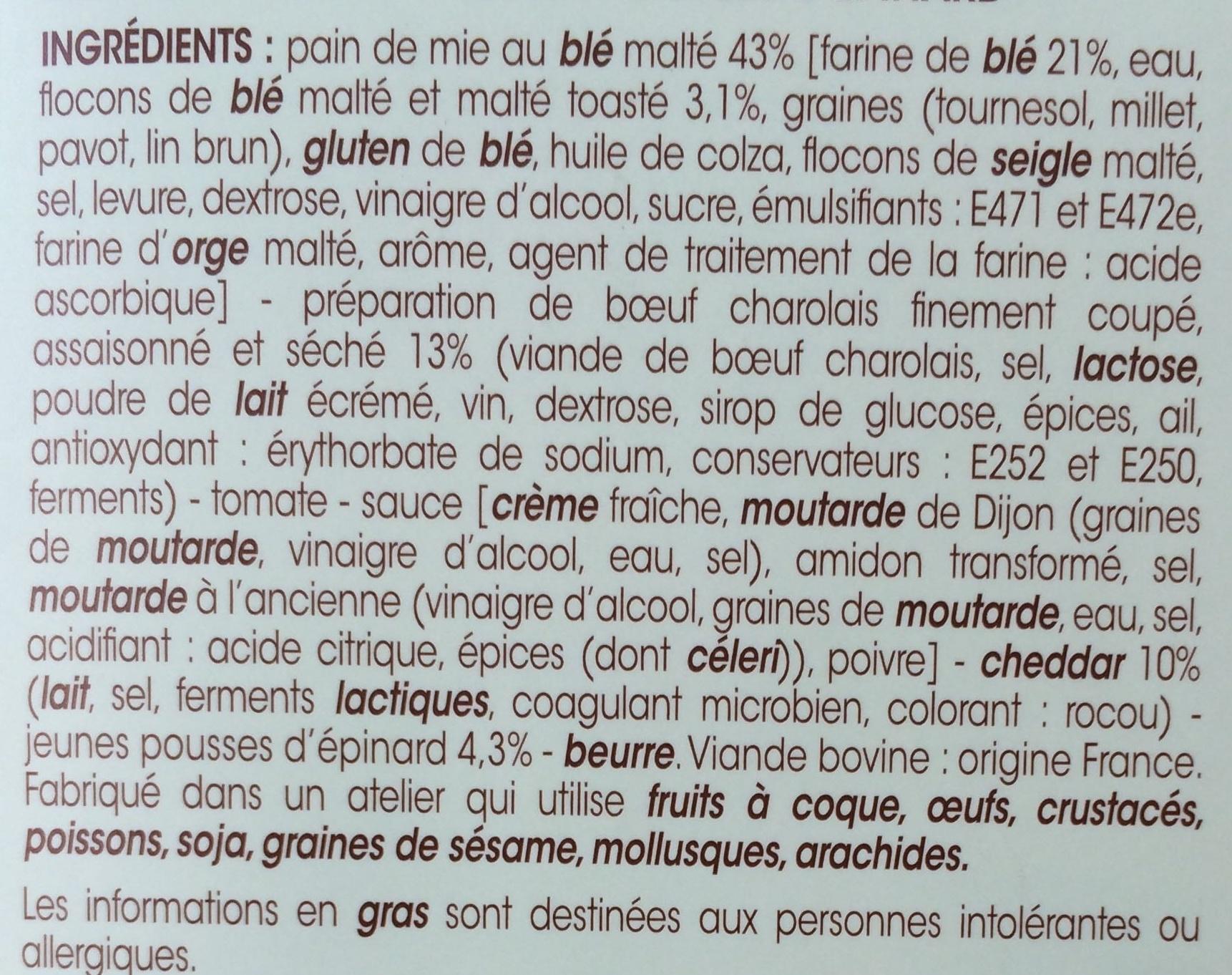 Le Boeuf Cheddar, Pousses d'Epinard pain de mie au blé malté - Ingrédients - fr