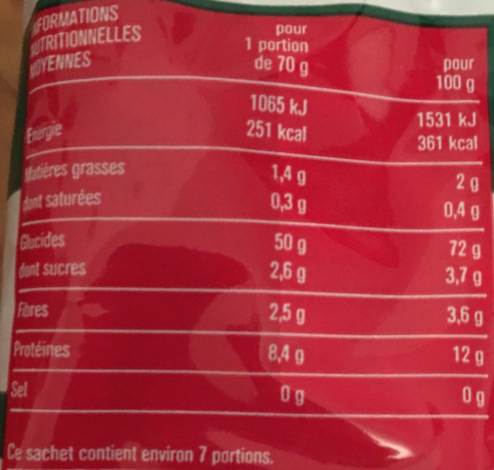 Macaroni de qualité supérieure - Voedingswaarden - fr