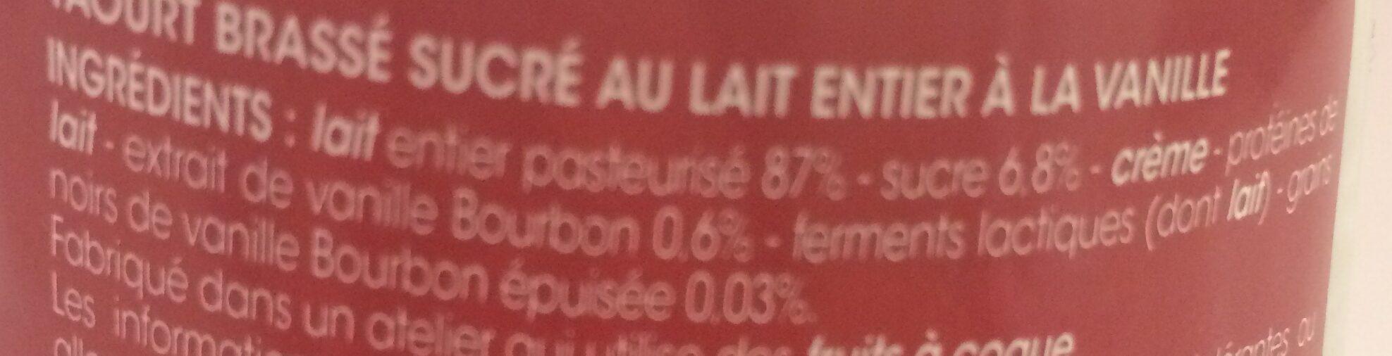 Yaourt brassé vanille - Ingrediënten