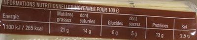 Fromage fondu croque monsieur - Informations nutritionnelles - fr