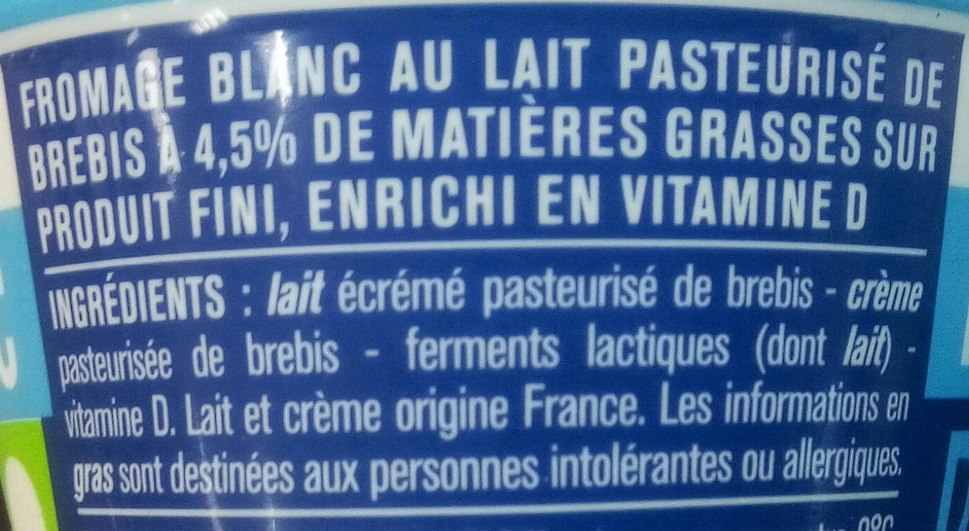 Fromage blanc brebis - Ingredients - fr