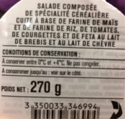 Fusilli sans Gluten Tomate Courgette Feta - Produit - fr