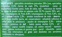 Poulet sauce Champignons et Torti de maïs - Ingrédients