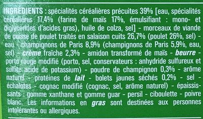 Poulet sauce Champignons et Torti de maïs - Ingrédients - fr
