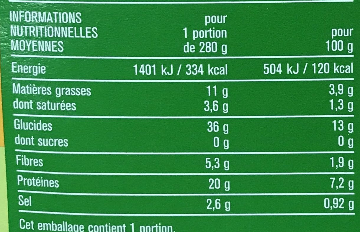 Poulet sauce Champignons et Torti de maïs - Informations nutritionnelles - fr