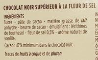 Chocolat noir à la pointe de fleur de sel - Ingrédients - fr