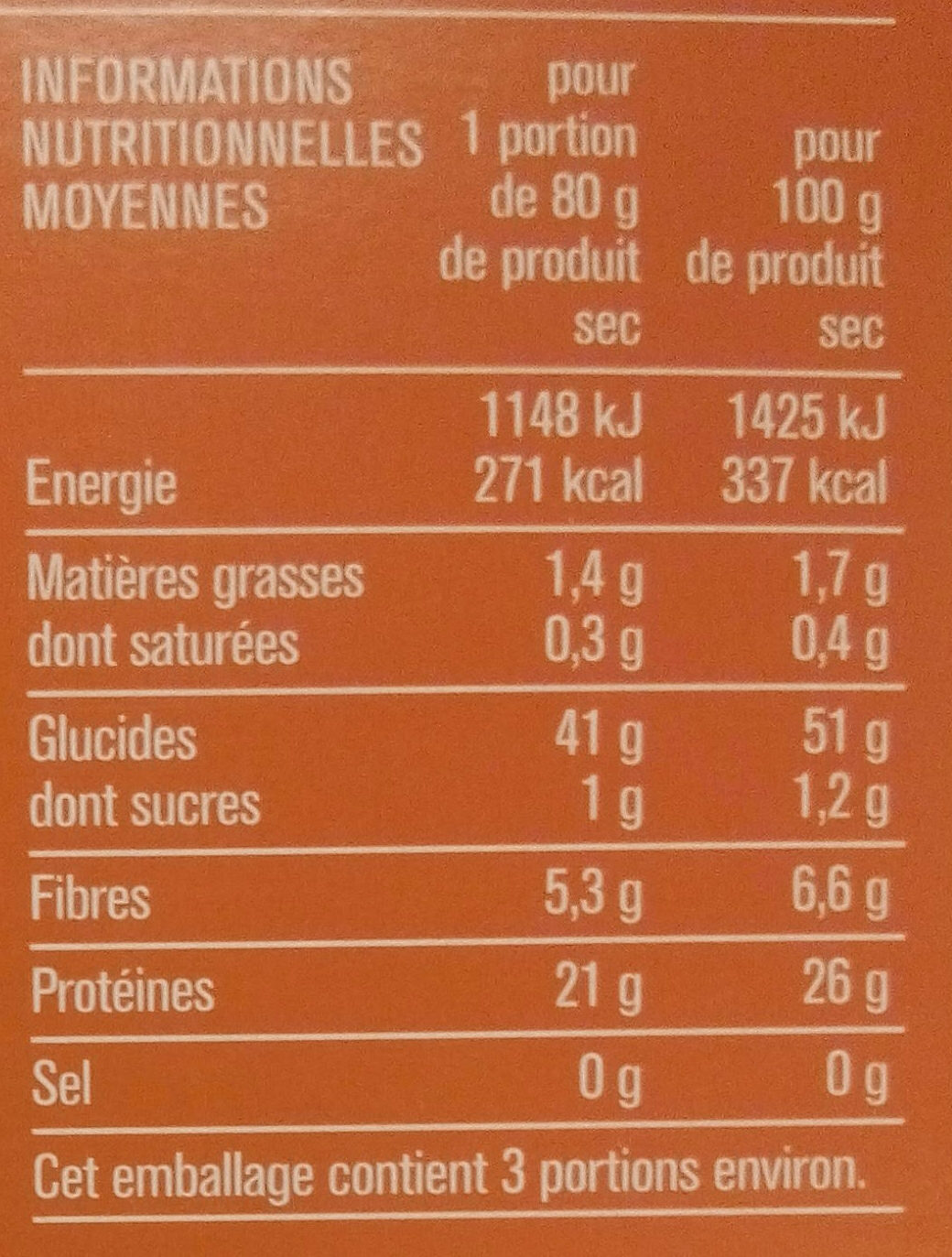 Penne de lentilles corail - Voedingswaarden - fr
