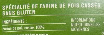 Fusilli, spécialité de farine de pois cassés, sans gluten - Ingrédients - fr
