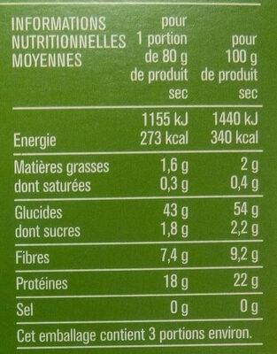 Fusilli, spécialité de farine de pois cassés, sans gluten - Informations nutritionnelles