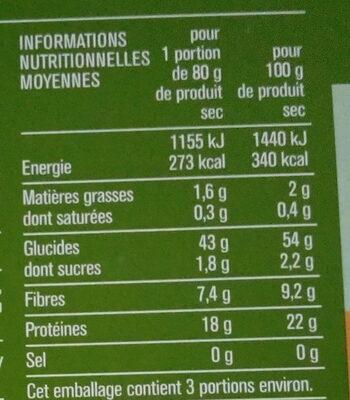 Fusilli, spécialité de farine de pois cassés, sans gluten - Informations nutritionnelles - fr