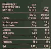 Fusilli de Pois Cassés - Valori nutrizionali - fr