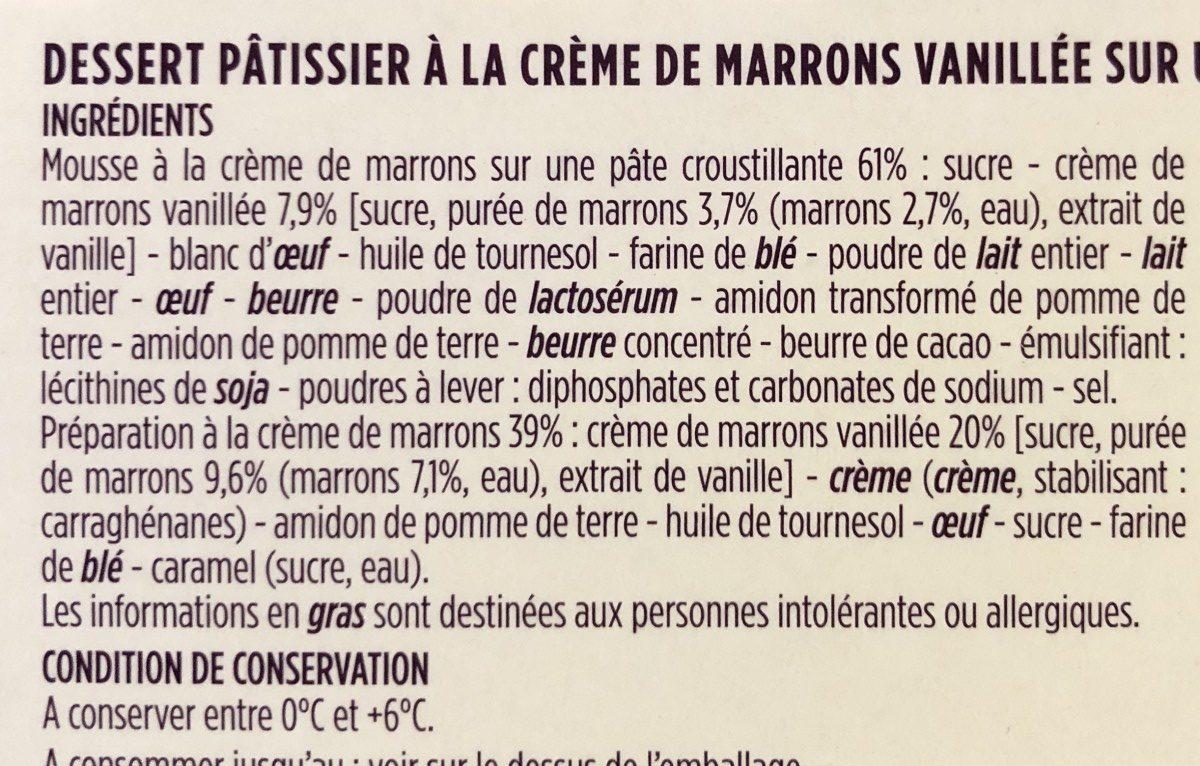 Tartelette aux marrons - Ingrediënten - fr